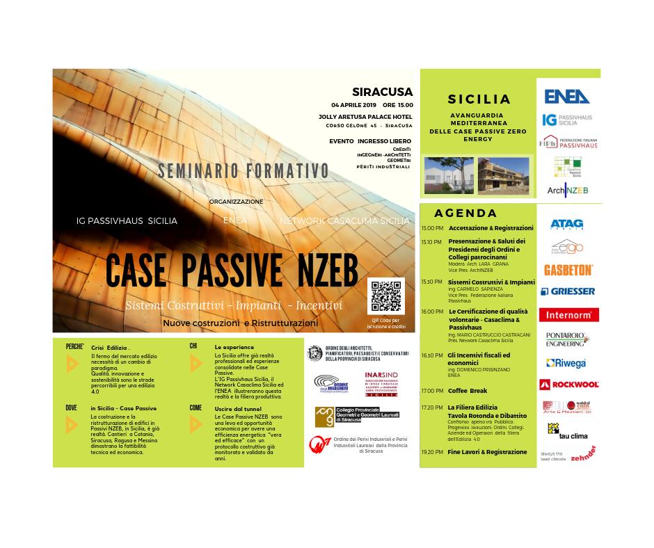 CASE Passive Zero Energy - Incontro Convegno a Siracusa - 04 Aprile 2019
