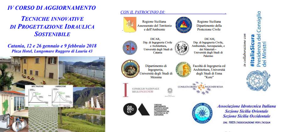 IV CORSO DI AGGIORNAMENTO TECNICHE INNOVATIVE DI PROGETTAZIONE IDRAULICA SOSTENIBILE