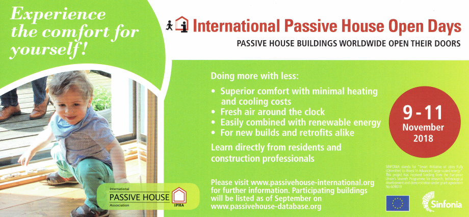 International Passive House Open Days 9-11 November 2018