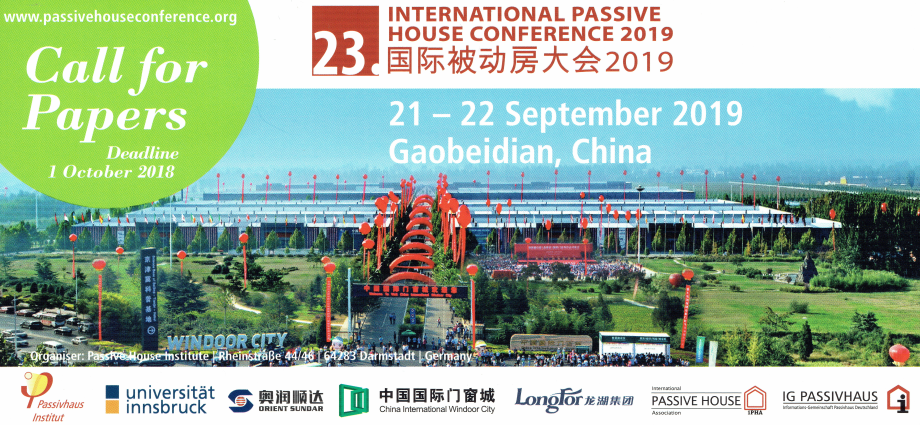 INTERNATIONAL PASSIVE HOUSE CONFERENCE 2019                                       21- 22 Settembre 2019