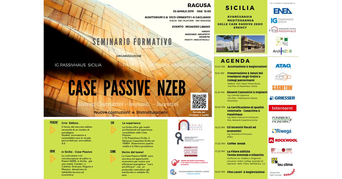CASE Passive Zero Energy - Incontro Convegno a Ragusa - 03 Aprile 2019